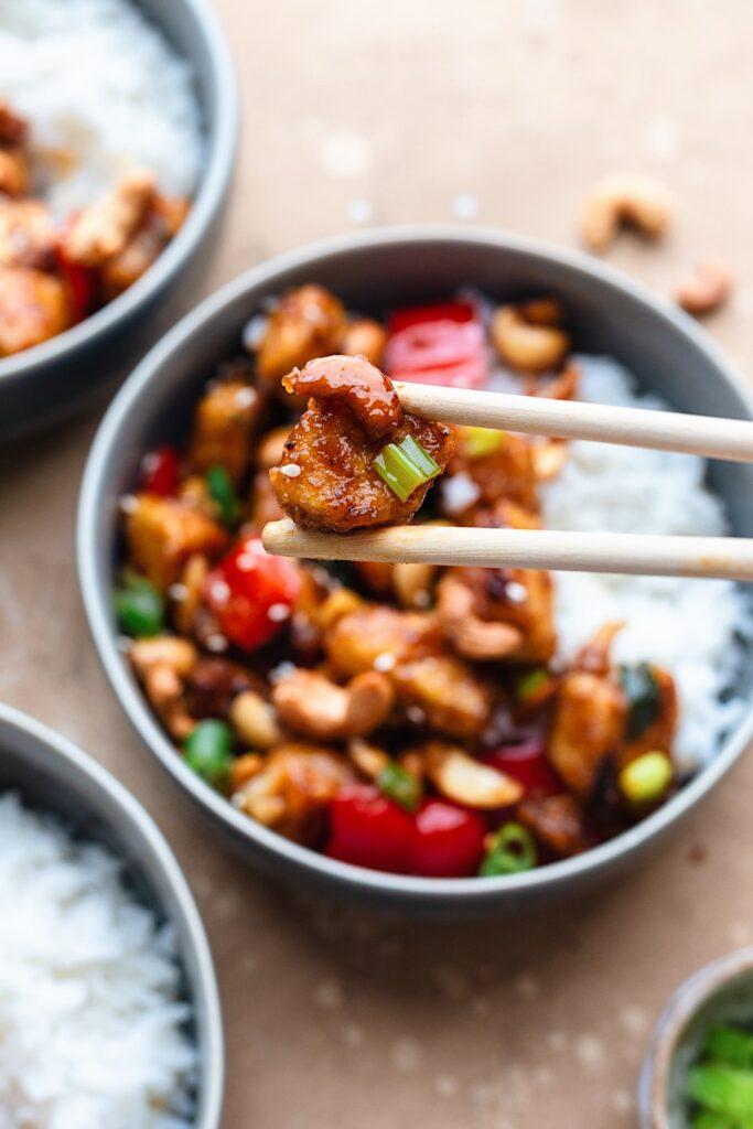 Vegan Cashew Tofu with Chopsticks