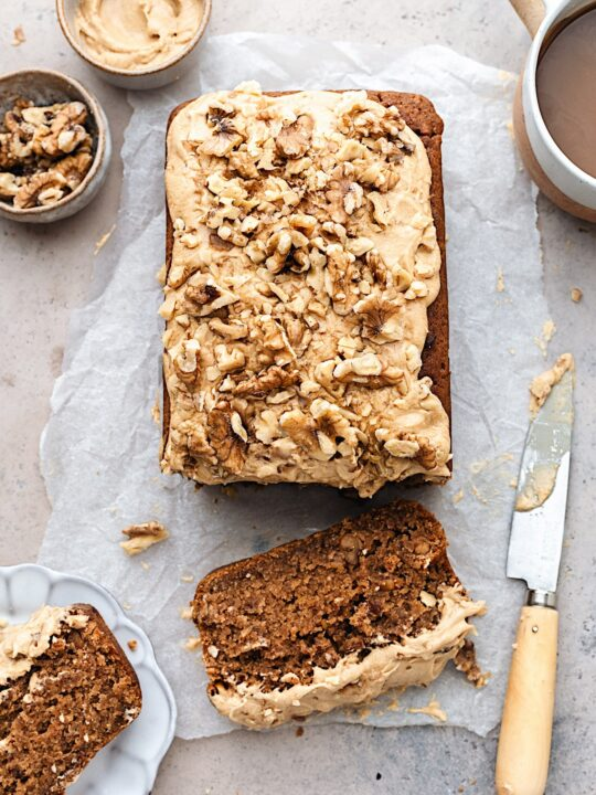 Vegan Coffee and Walnut Loaf Cake #coffee #walnut #cake #vegan #dairyfree #plantbased #recipe