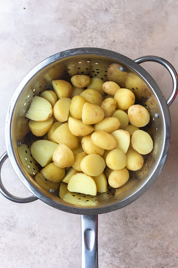 Boiled New Potatoes in Sieve