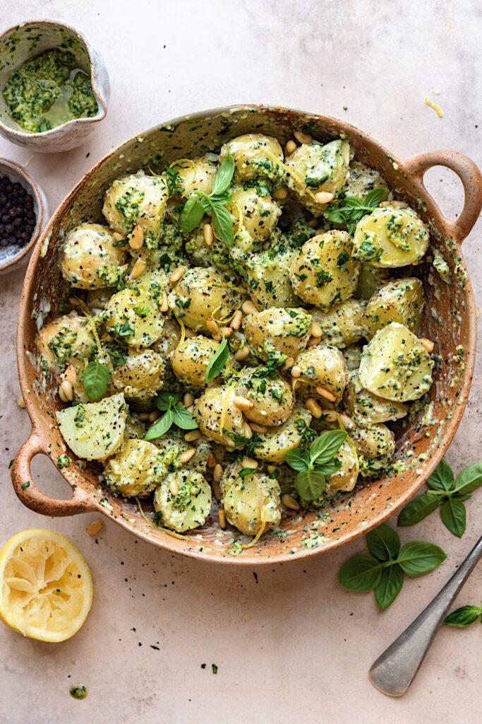Vegan Pesto Pasta Salad #potato #salad #pesto #vegan #dairyfree