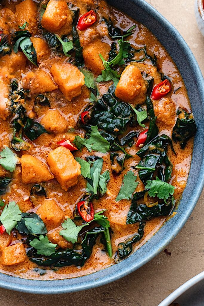 Vegan Thai Butternut Squash Kale Red Curry #butternut #squash #kale #thai #curry #vegan #dairyfree