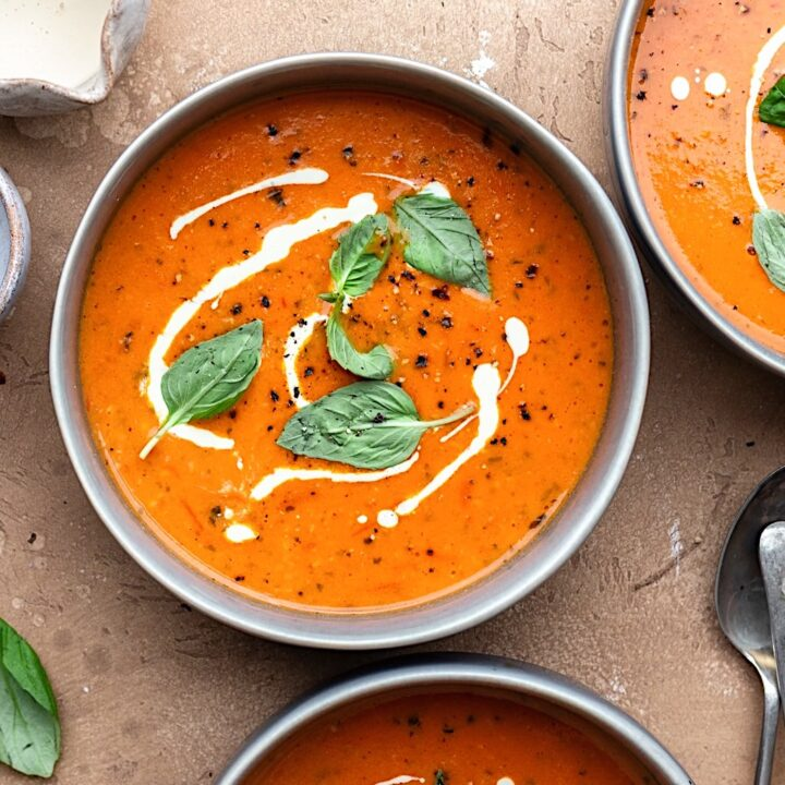 Vegan Creamy Tomato Soup #tomato #soup #winter #vegan #dairyfree #recipe